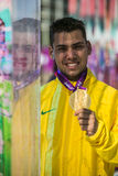 London 2012 Paralympic game. Alan Fonteles Cardoso Oliveira winner on 200m Stock Images