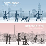 London And Paris Banners Set Stock Photo