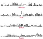 London, Paris, Berlin and Rome city skylines   Royalty Free Stock Images