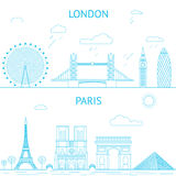 London and Paris skyline illustration in lines Royalty Free Stock Photography