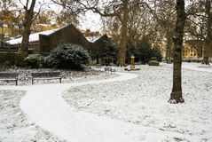 London park in the snow Stock Image