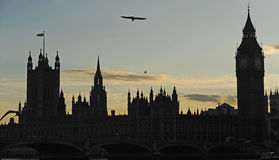 london parlamentu silouhette Fotografia Royalty Free
