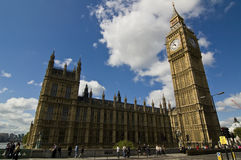 London Parliament and Big Ben. Tower on Thames River Stock Images