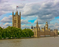 London Parliament Buildings. A view of the London Houses of Parliament from the River Thames Royalty Free Stock Image