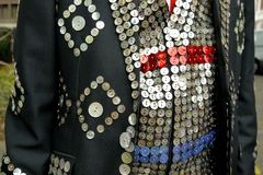 London: pearly king suit detail royalty free stock photography