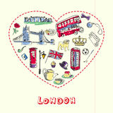 London Pen Drawn Doodles Vector Collection Royalty Free Stock Photo
