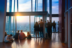 LONDON, People watching sunset from viewing London platform Stock Image