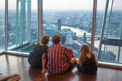 LONDON, People watching sunset from viewing London platform Royalty Free Stock Images