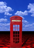 London Phone booth. A London, England style telephone booth is portrayed in an abstract depiction with a red sea and deep cyan sky as background Royalty Free Stock Image