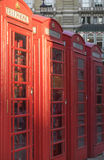 London phone booths in a row Stock Photo