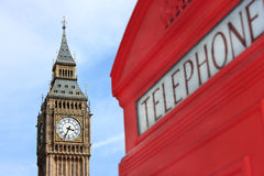 London phone box with Big Ben in background Stock Photography