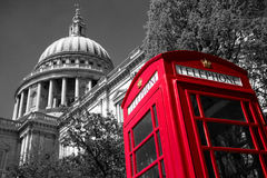 London phone box at St Paul's Cathedral stock images