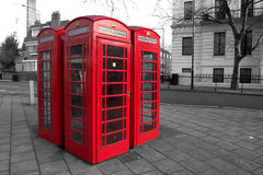 London phone boxes. Boxes in London Royalty Free Stock Photo