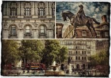 LONDON PHOTO COLLAGE POSTCARD. Postcard of London edited into a retro style Royalty Free Stock Photography
