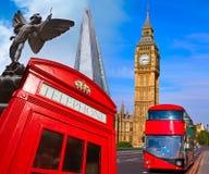 London photomount with telephone box Stock Photos