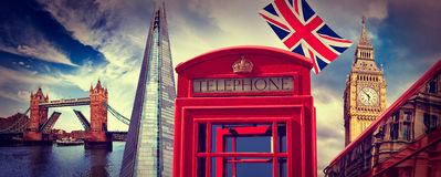 London photomount with telephone box Royalty Free Stock Photo