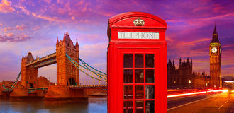 London photomount with telephone box Royalty Free Stock Photography