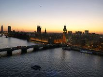 London, photos at sunset over the city from the great panorama wheel stock image