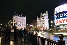 London, Picadilly Circus at night. Night view of Picadilly Circus in London , England Royalty Free Stock Image