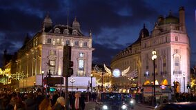 London Piccadilly Circus at Christmas time in the evening - LONDON, ENGLAND - DECEMBER 10, 2019