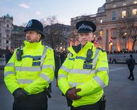London Police Officers in Trafalgar Square After March 2017 Westminster Bridge Attacks stock photos