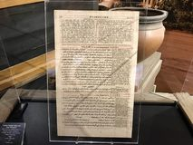 London Polyglot Bible Leaf in the New Testament. Williamstown, KY, USA - November 3, 2017:  London Polyglot Bible Leaf of 1657 in the New Testament in Noah`s ark Royalty Free Stock Photos