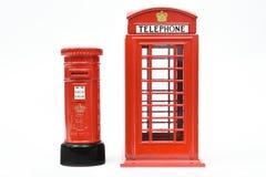 London postbox och telefonask Royaltyfria Foton
