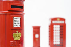 London postbox och telefonask Royaltyfri Fotografi
