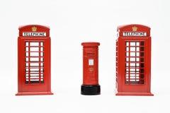London postbox och telefonask Royaltyfri Foto