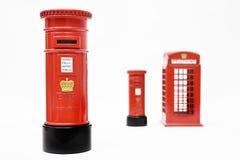 London postbox och telefonask Arkivbilder