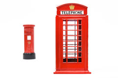 London postbox and telephone box Royalty Free Stock Photo