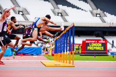 London prepares: Olympic test events. LONDON - MAY 6: intentionally motion blurred men's 110m hurdles at the Olympic stadium during the London prepares series at Stock Images
