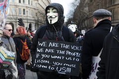 London protesters march against worldwide government corruption Royalty Free Stock Images