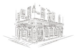 London Pub Sketch. Hand Drawn Style Vector Sketch. Pub, London Stock Photography