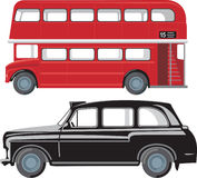 London pubic transport. London double-decker red bus and traditional taxi cab Royalty Free Stock Images