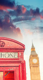 London public phone booth with Big Ben Stock Image