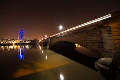 London. Putney  Bridge  Thames River London by night Royalty Free Stock Photo