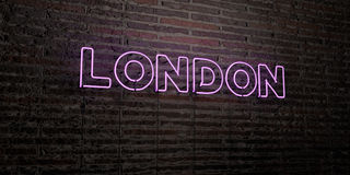 LONDON -Realistic Neon Sign on Brick Wall background - 3D rendered royalty free stock image. Can be used for online banner ads and direct mailers Royalty Free Stock Photos