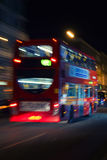 London red bus at night. London red double-decker bus at night Stock Photography