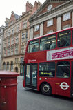 London red bus on streets Stock Images