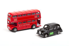 London Red Bus and Taxi Stock Image