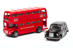 London Red Bus and Taxi Royalty Free Stock Photography