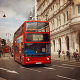 London red bus. Tilt shift lens. Stock Photo
