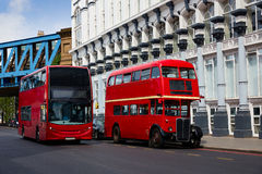 London Red Bus traditional old Stock Photo