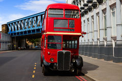 London Red Bus traditional old Stock Photos