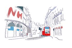 London red bus watercolor illustration street view vector illustration