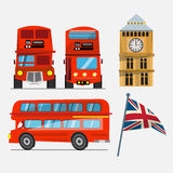 London red double decker bus. big ben and Great Britain waving f Royalty Free Stock Photo