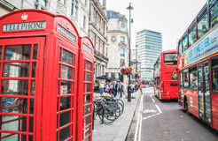 London red phone boxes and double decker buses. Royalty Free Stock Photos