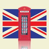 London red telephone booth with United Kingdom flag stock photo