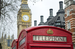 London Red telephone box with Big Ben in backgroun Stock Photography